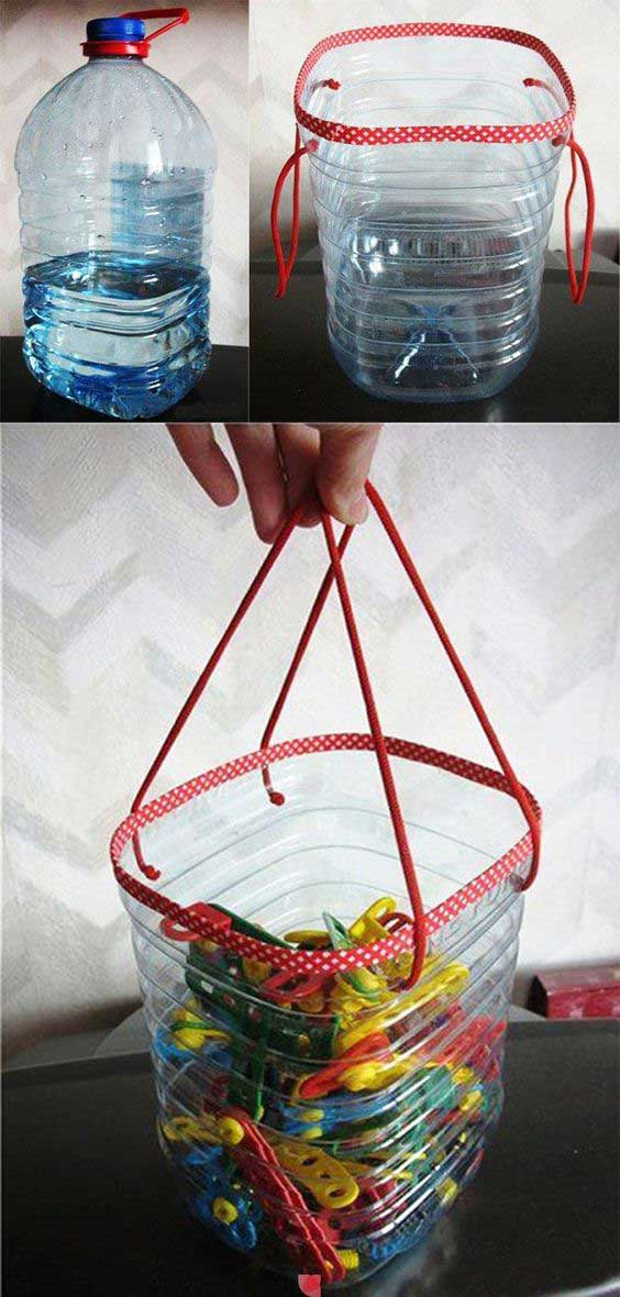 Use water bottles to store pins
