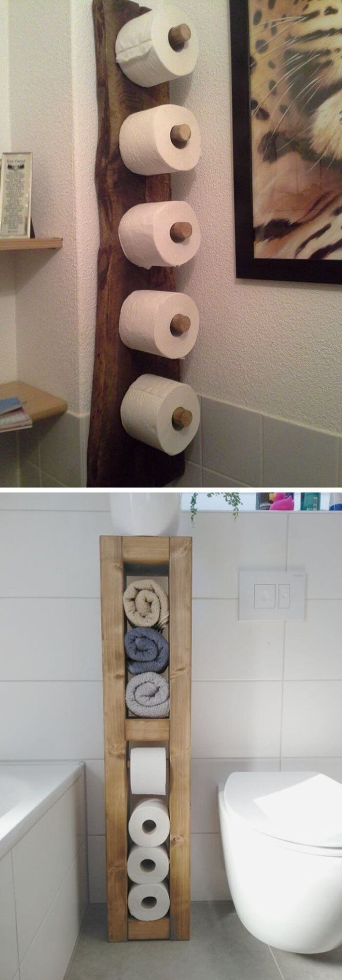 Cozy toilet with wooden shelf for tissue