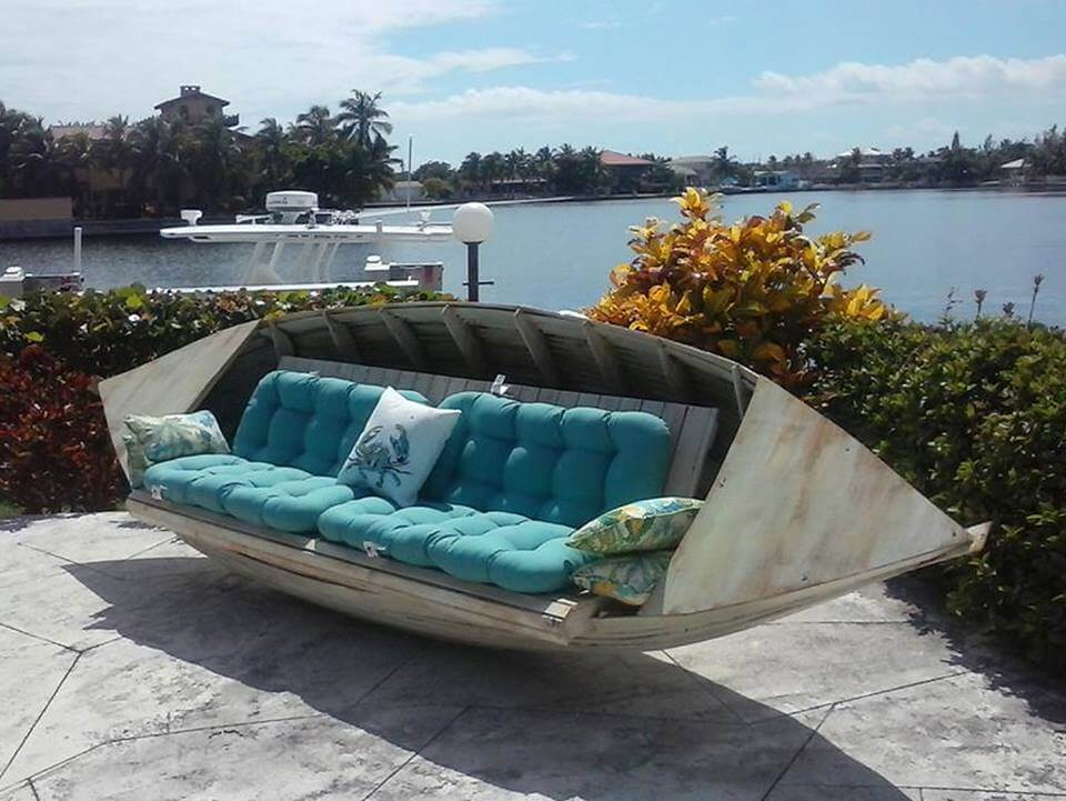 Boat bench | Beach-Style Outdoor Ideas For Your Porch and Backyard