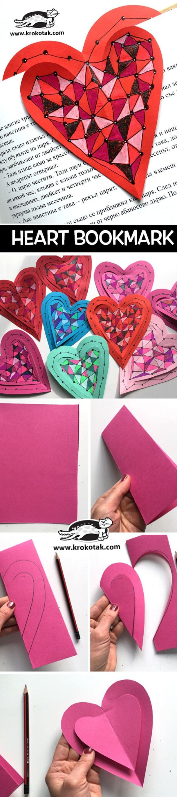 Heart bookmark | Heart-Shaped Crafts For Valentine's Day