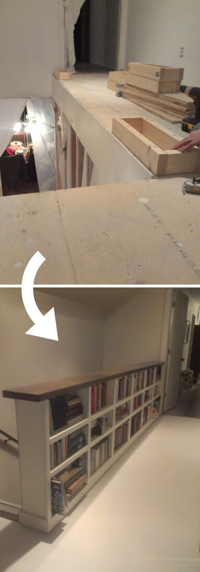 Shifting the attic staircase into a compact bookshelves