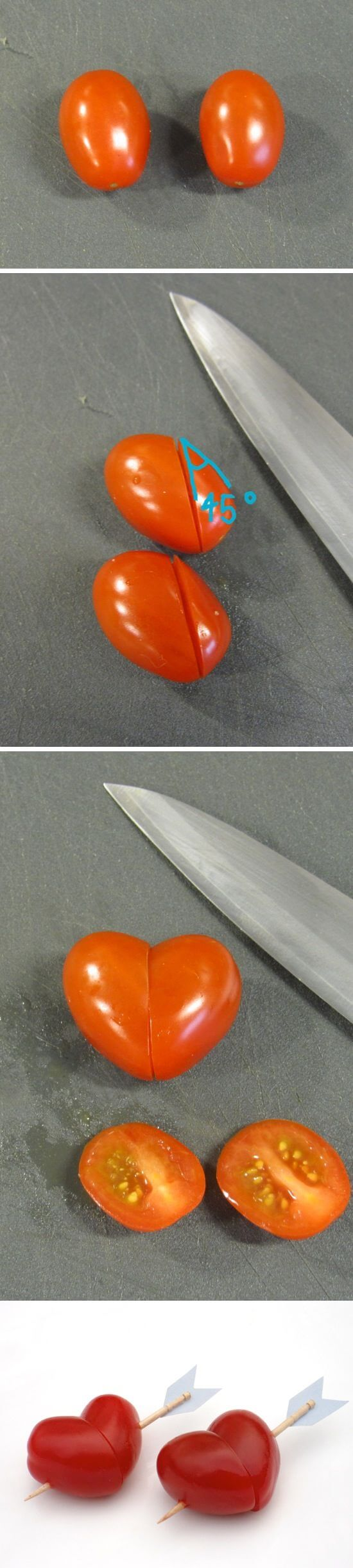 Cherry tomato hearts | Heart-Shaped Crafts For Valentine's Day