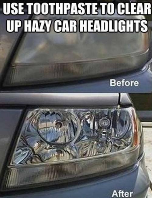 Toothpaste to clean hazy headlights