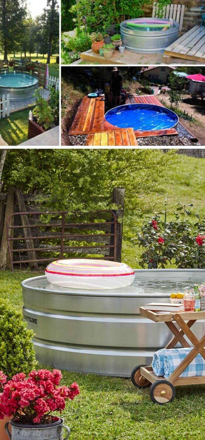 A Backyard with a Stock Tank Pool