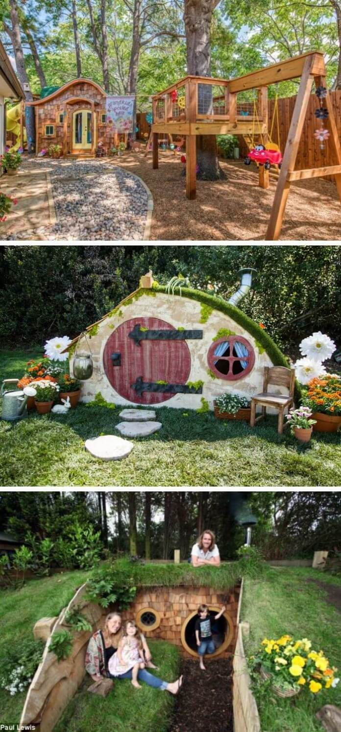 A Backyard with Hobbit House