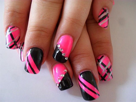 Hot Pink and Black Patterns Nail Design