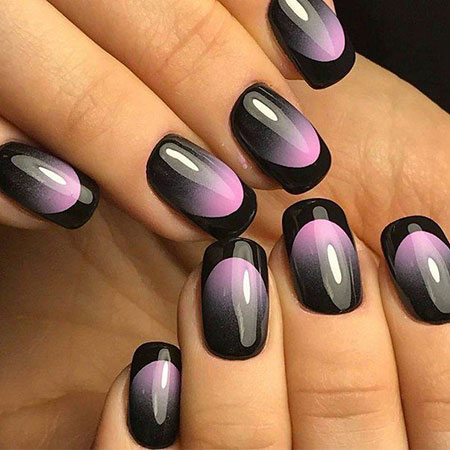 Light Pink on Black Nail Design