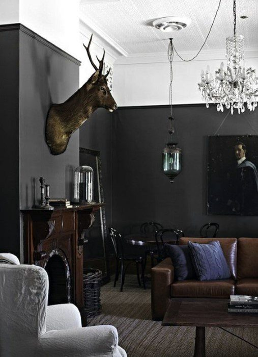 Grey Walls With Manly Decor Cool Man Cave Ideas