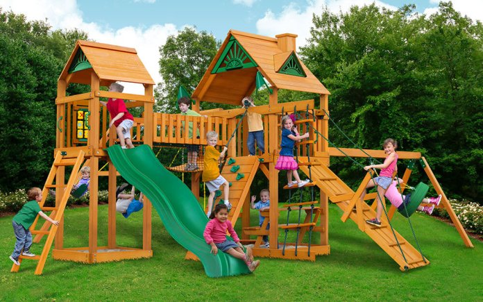 A Backyard with Playground Sets
