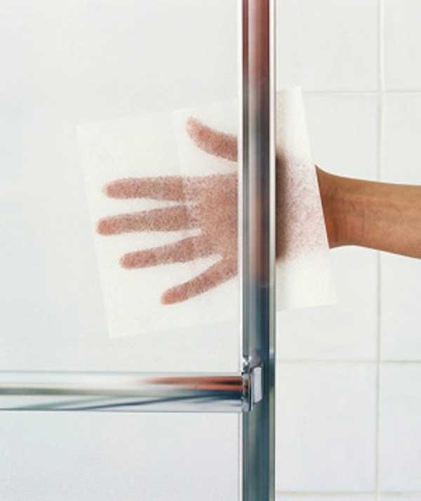 Use dryer sheet to remove obstinate soap