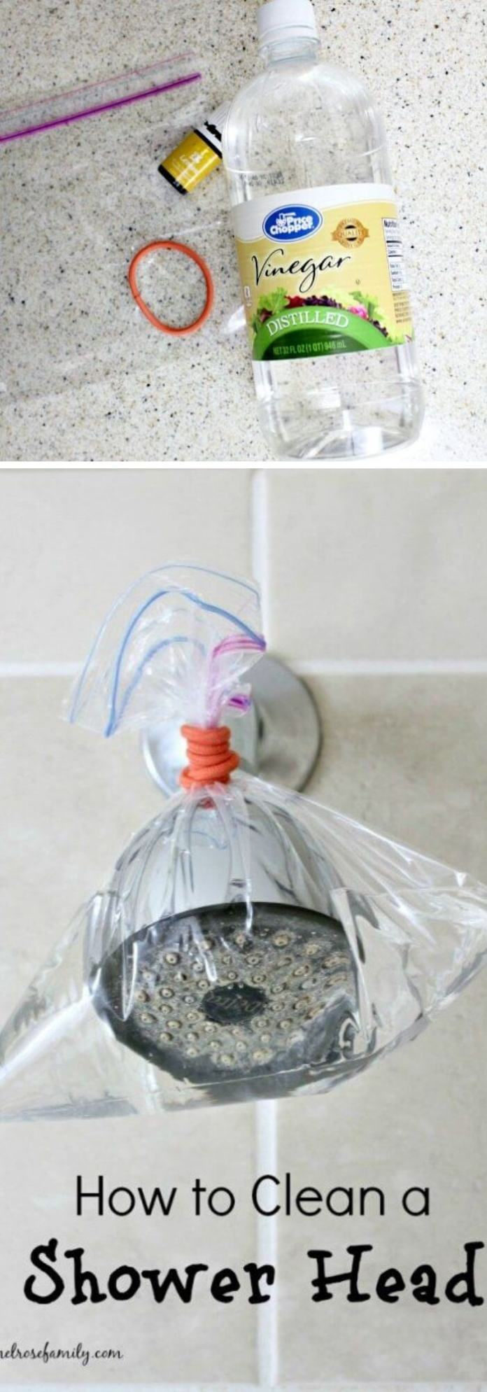Use sandwich bag and distilled white vinegar to clean shower head