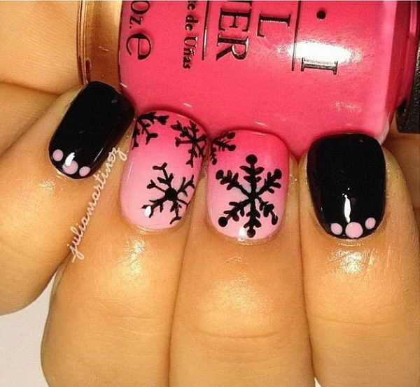 Pink and Black Snowflake Nail Design