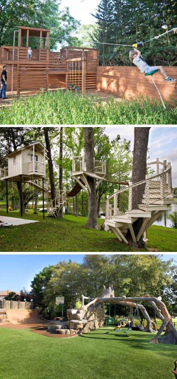 A Backyard with a small zip line