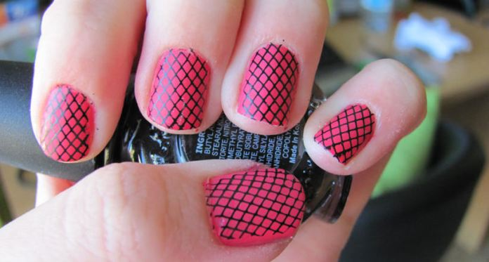 Pink and Black Checked Nail Design