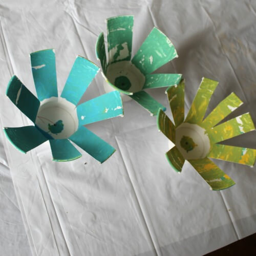 Paper cup flowers craft