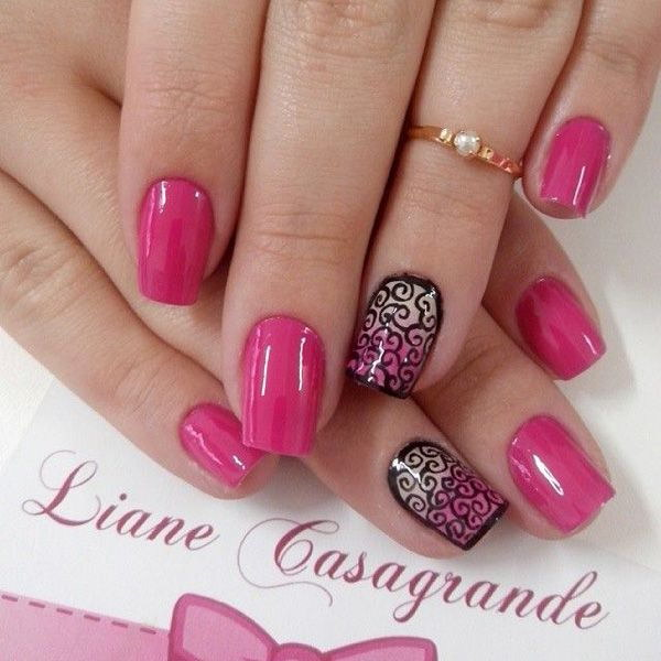 Pink Nail with Black Swirl Designs