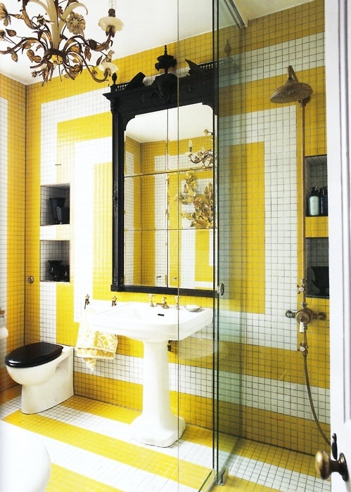 Yellow and white tiles