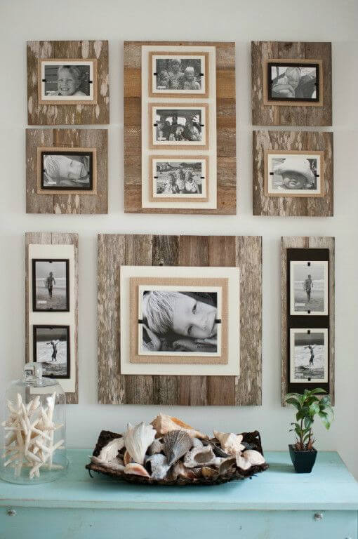Wooden hanging photo frames