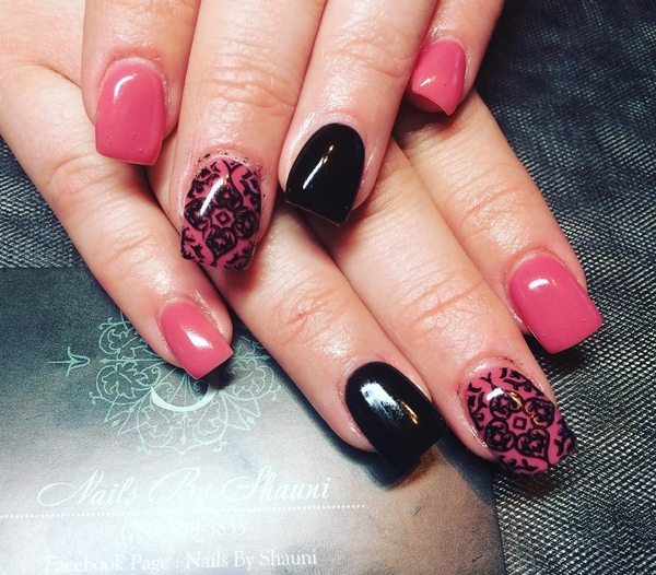 Pink and Black Pattern Nail Design
