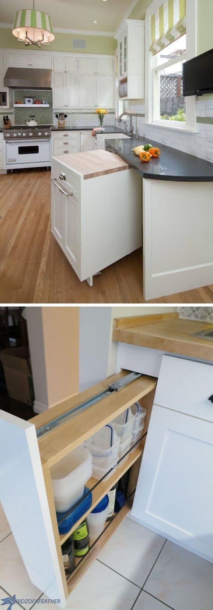 Build a pull-out cabinet to shift anywhere whenever you want