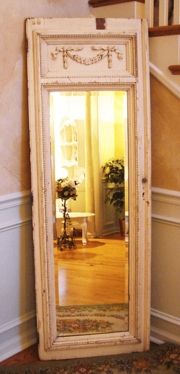 Shabby chic mirror from an old door