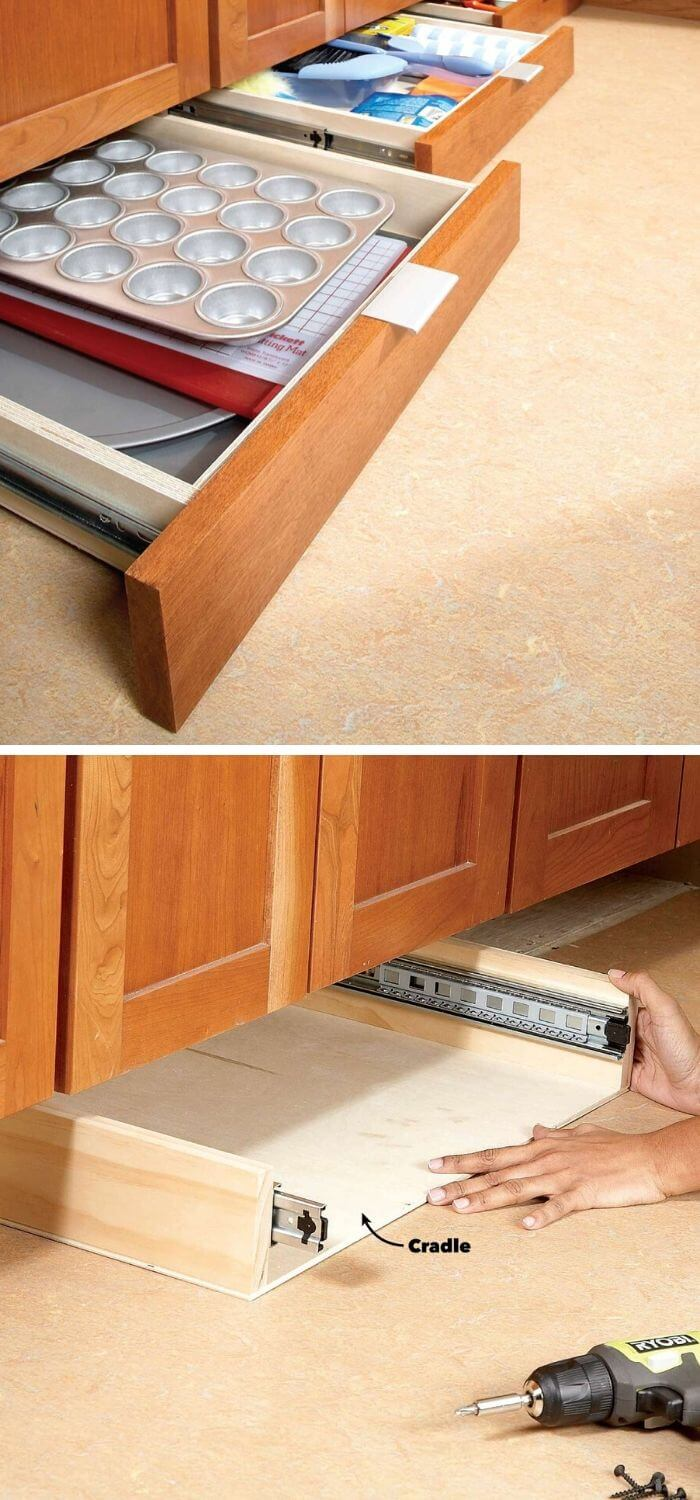 Maximize your space with baseboard draws