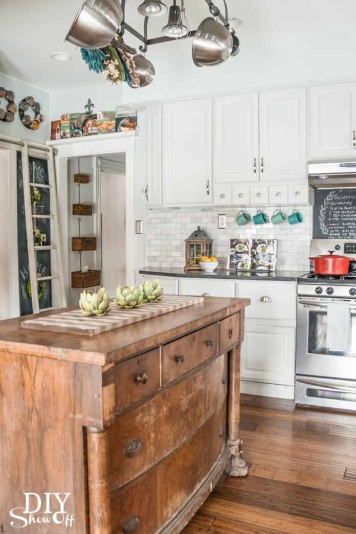 Farmhouse kitchen with old dresser