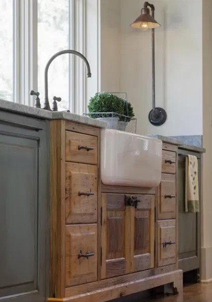 Farmhouse kitchen with repurposed items