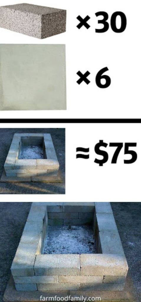 Cement Brick Firepit and Bench