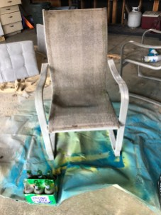 One of our second hand chairs before a DIY upgrade