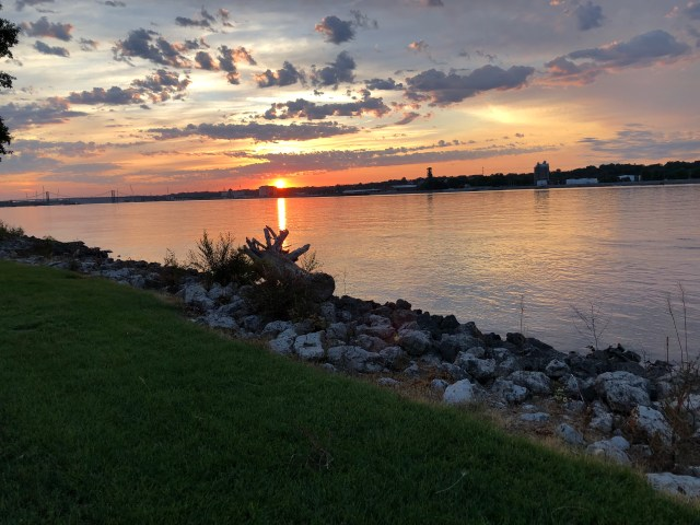 Sunset Mississippi River overwhelm motherhood moms mothering unseen invisible workload difficult mental health