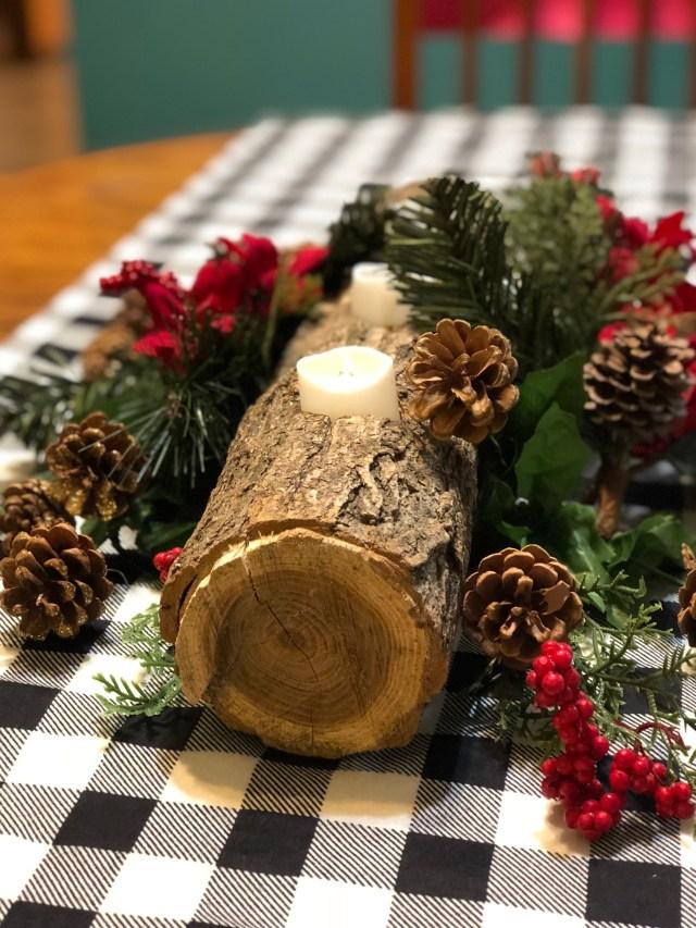 Christmas centerpiece decoration log pinecones Yule candleholder huge