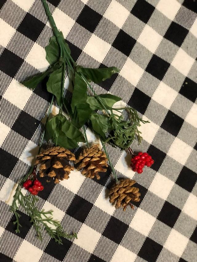 Dollar tree Christmas decorative pick floral pine cone evergreen