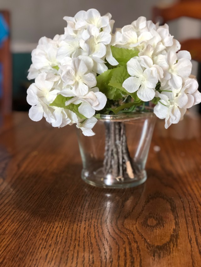 Pottery barn dollar tree DIY craft table scape centerpiece table decor spring to winter floral centerpiece