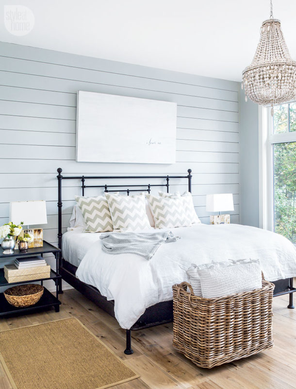 farmhouse style bedding shiplap