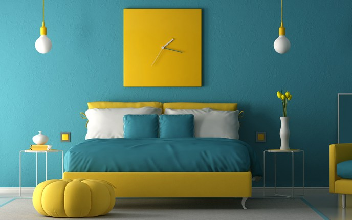 teal bedroom paint