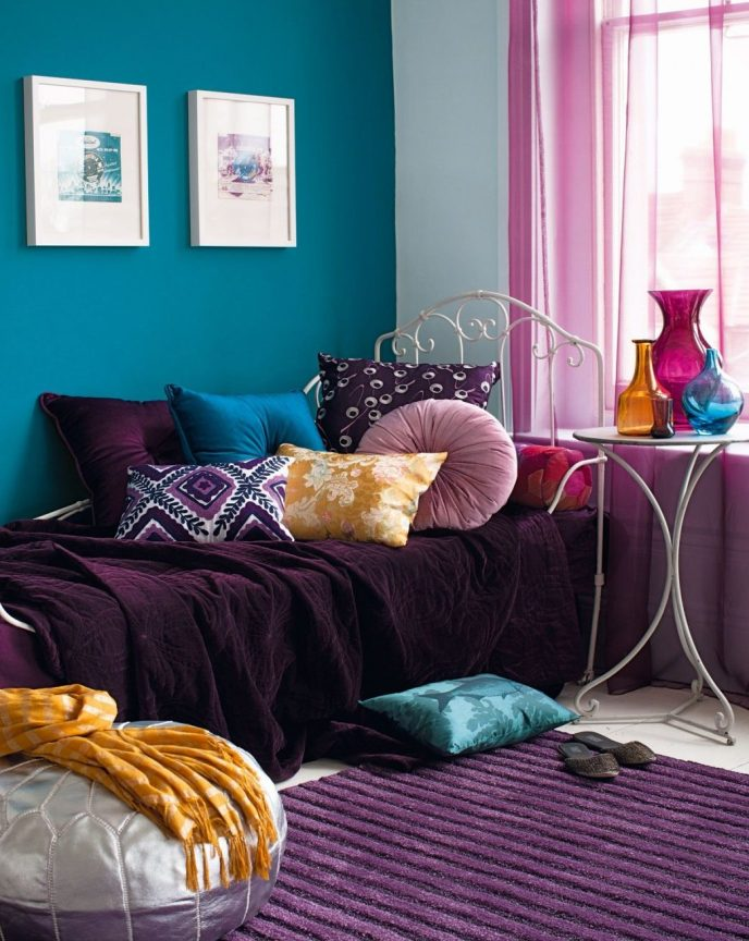 modern purple and teal bedroom ideas