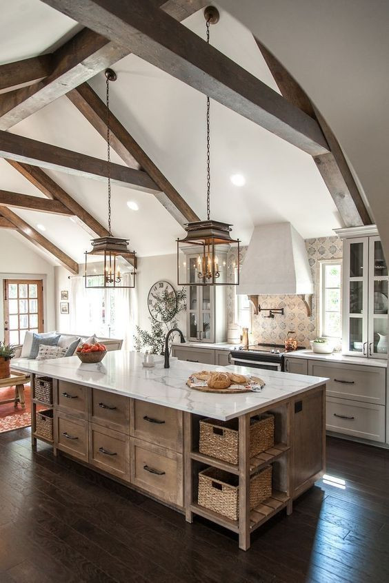 Vaulted ceiling rustic farmhouse kitchen