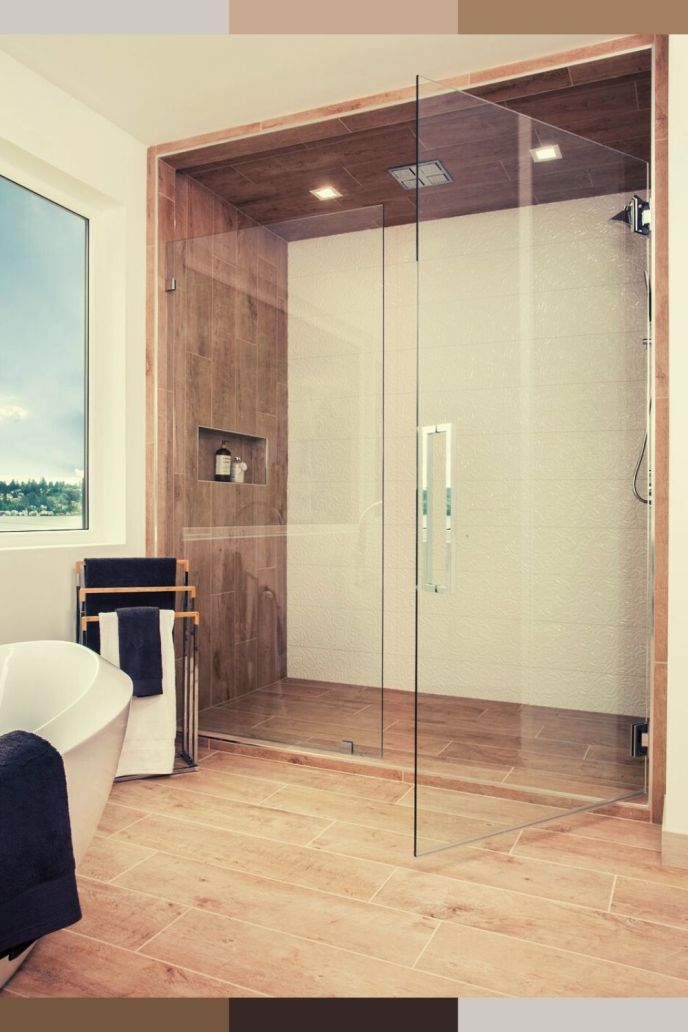 glass doors bathroom