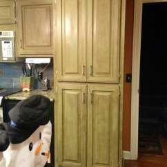 Bottom Kitchen Cabinets Island Hood Oak In Annie Sloan Chateau Grey And ...