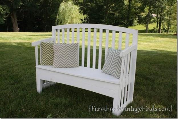 transforming a crib into a bench - farm fresh vintage finds