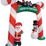 8-Foot-Tall-Lighted-Christmas-Inflatable-Candy-Cane-Archway-with-Santa-Claus-Snowman-Penguins-and-Gift-Yard-Party-Decoration-0-0