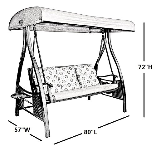Abba Patio Outdoor/Porch 3 Triple Seater Hammock Canopy