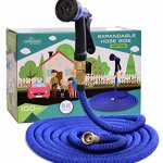 GENIUSWAY-100-Feet-Expandable-Fabric-Garden-Hose-with-Adjustable-Sprayer-and-Solid-Brass-End-Blue-0