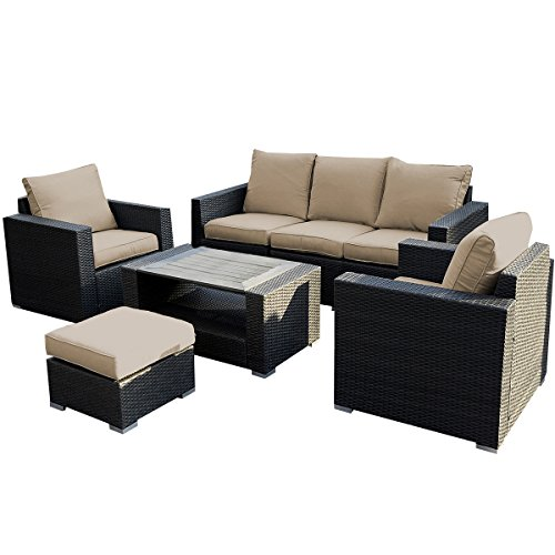 Giantex 7pc Outdoor Patio Patio Sectional Furniture Pe Wicker Rattan Sofa  Set Deck Couch