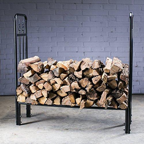HIO Heavy Duty Firewood Racks 4Foot IndoorOutdoor Steel wood Log Rack Holder With Finial