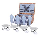 HiCollie-4-Person-Wicker-Picnic-Basket-Hamper-Set-with-Flatware-Plates-and-Wine-Glasses-Includes-Blue-Checked-Pattern-Lining-and-FREE-Picnic-Blanket-0-0
