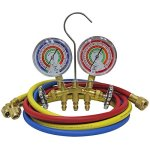 Mastercool-59161-Brass-R410A-R22-R404A-2-Way-Manifold-Set-with-3-18-Gauges-3-60-Hoses-and-Standard-14-Fittings-0