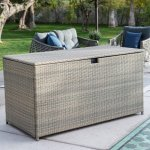Multi-purpose-Outdoor-Deck-BoxStorage-Made-with-Powder-coated-Aluminum-Frames-and-Resin-Wicker-in-Driftwood-Finish-0