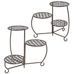 Sunnydaze-Bronze-Checkered-Triple-Planter-Stand-Set-of-2-0